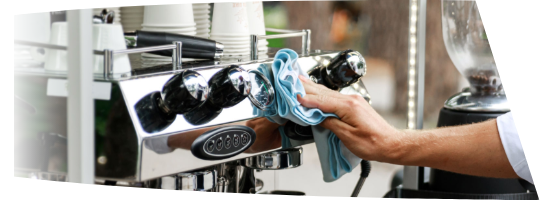 Barista using coffee machine