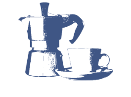 Metal coffee press with coffee cup and saucer illustration