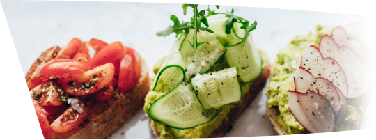 Variety of open faced sandwiches