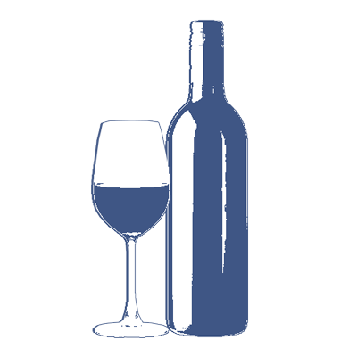 Wine bottle with glass of wine illustration